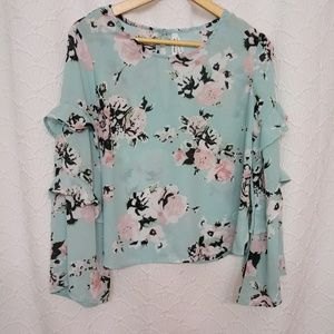 Live 4 Truth Sheer Floral boho Top Ruffle Sleeve